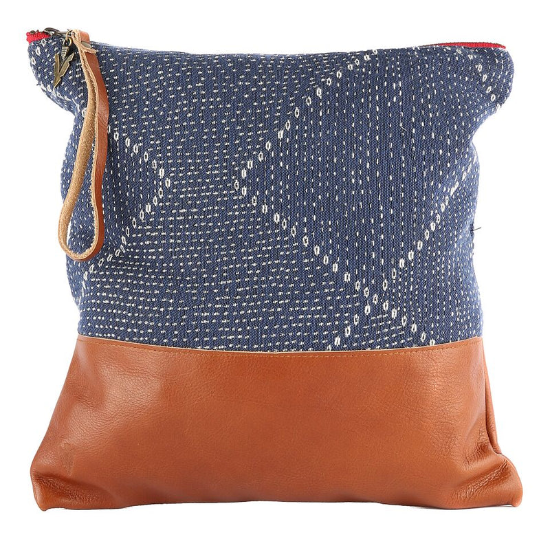 Blue Kantha Large Clutch