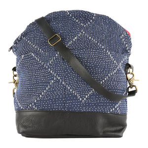 Avery Messenger Blue Kantha in Black Leather