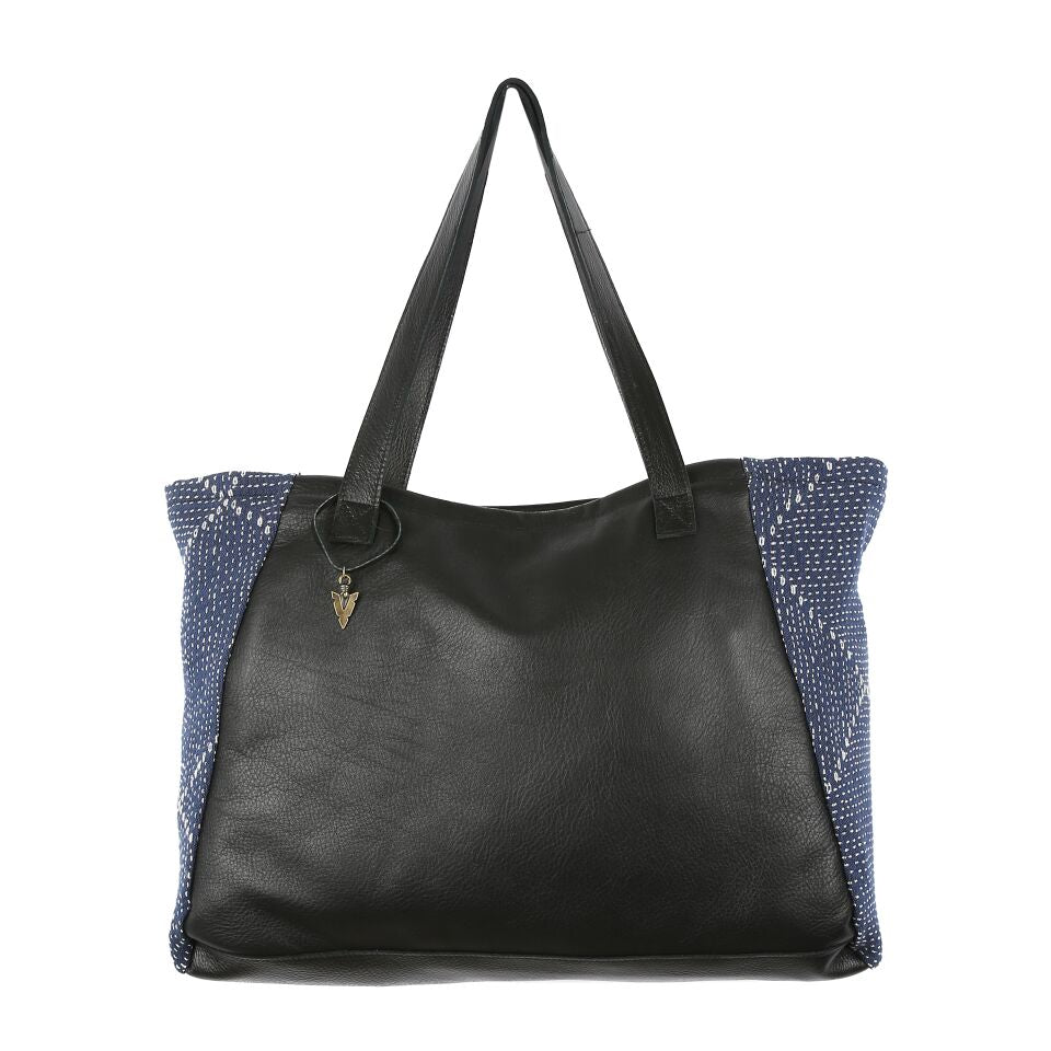 Blue Kantha Tosh Tote in Black Leather