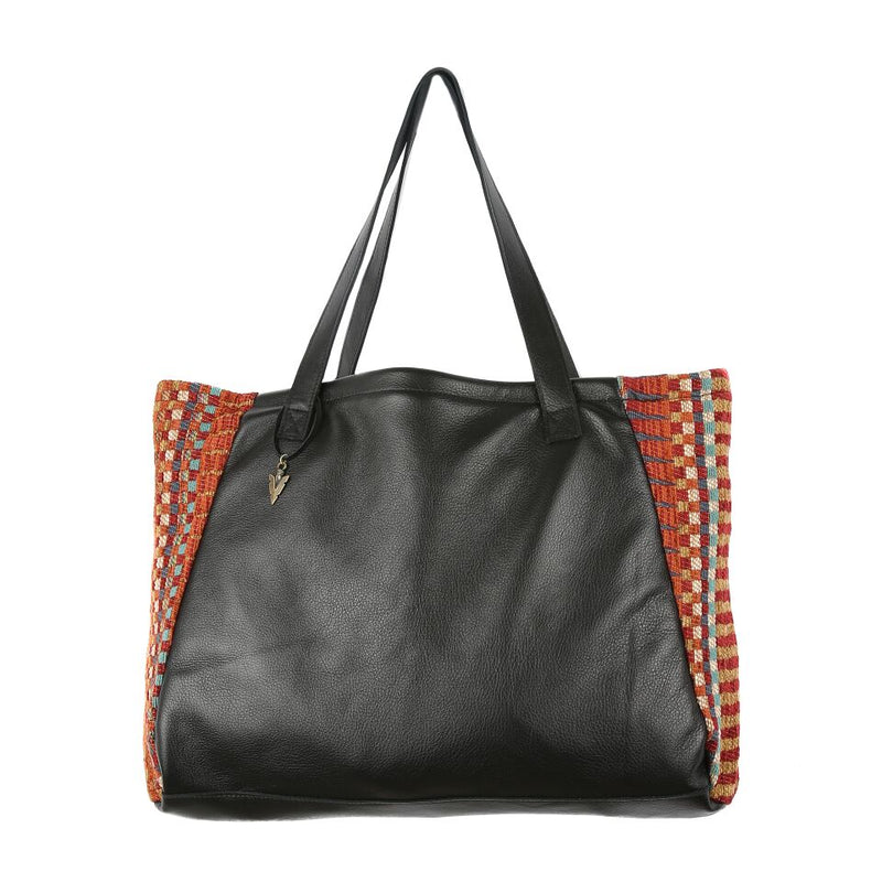 Tumeric Tosh Tote in Black Leather