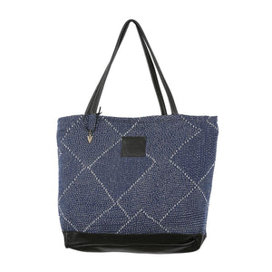 Blue Kantha Weekender in Black Leather