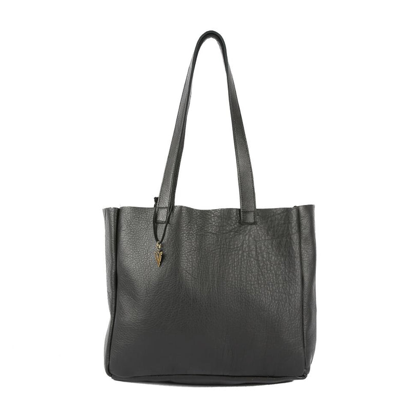 Black Leather Ellie Tote