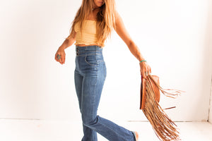 Jessa Fringe Messenger in Brown Leather