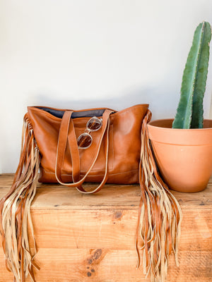 Joplin Fringe Tote Bag in Brown Leather