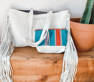 Joplin Fringe Tote in White Leather