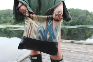 Blue Katama Large Clutch in Black Leather