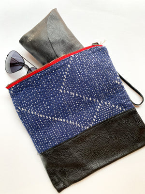 Blue Kantha Clutch in Black Leather