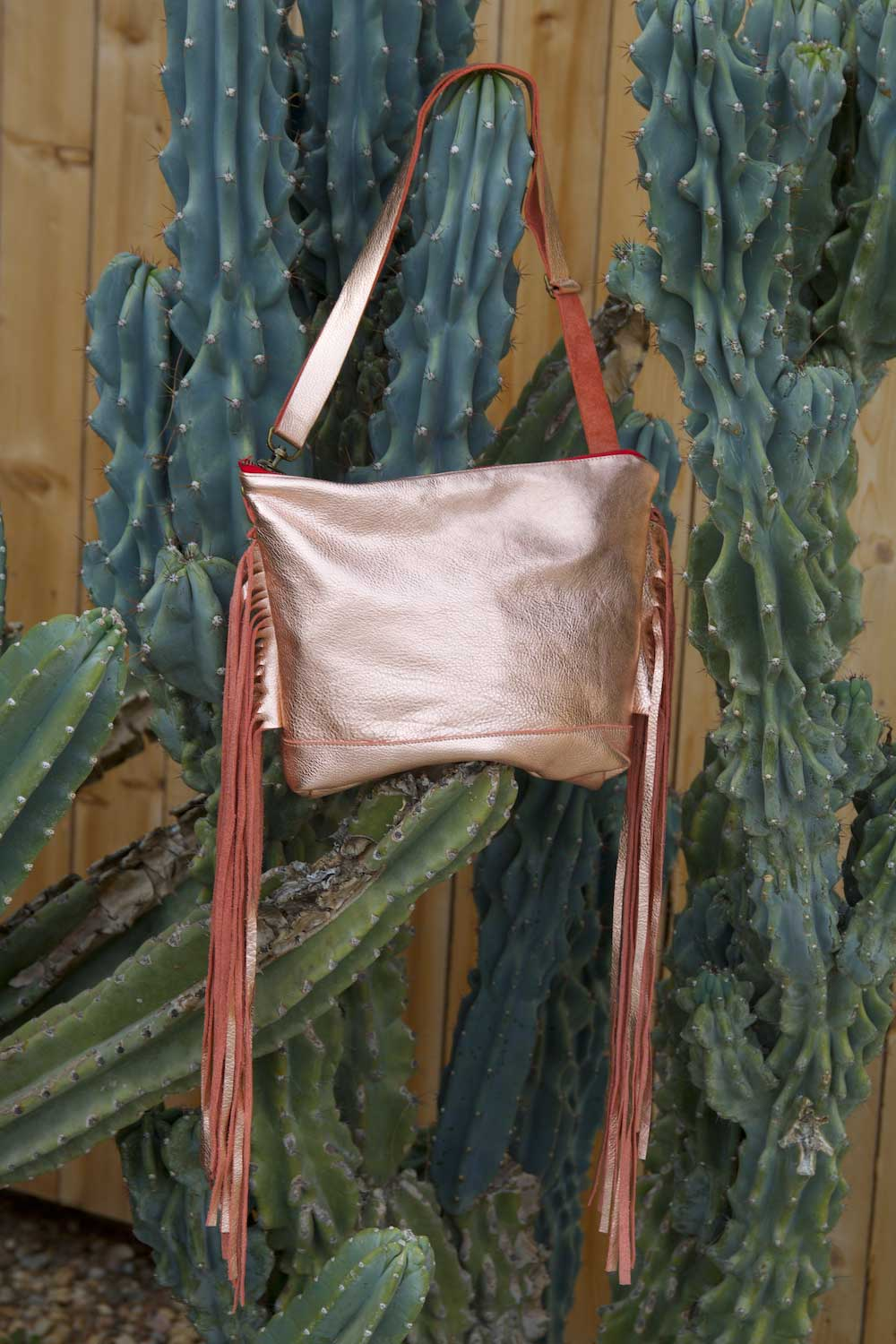Jacinda Side Fringe Messenger in Rose Leather