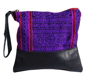 Patong Purple Clutch in Black Leather