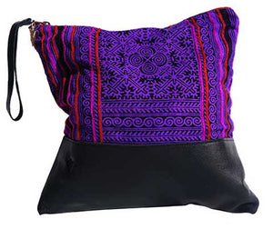 Patong Purple Large Clutch in Black Leather
