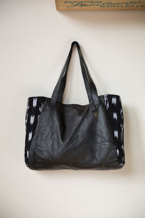 Ikat Tosh Tote in Black Leather