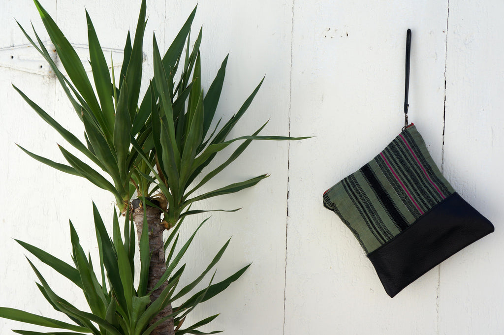 Aquinnah Green Clutch in Black Leather