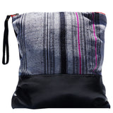 Large Clutch Aquinnah Grey in Black Leather