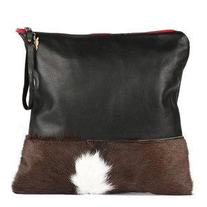 Belle Fur Large Clutch in Black Leather