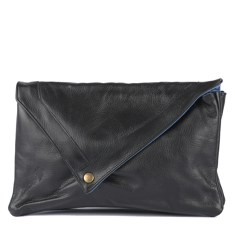 Envelope Clutch in Black Leather