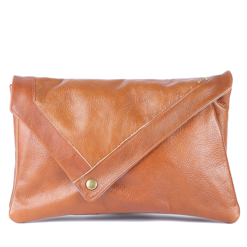 Envelope Clutch in Brown Leather