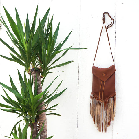 Fringe Clutch Messenger Brown Leather