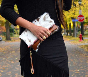 Fur Clutch Brown Leather