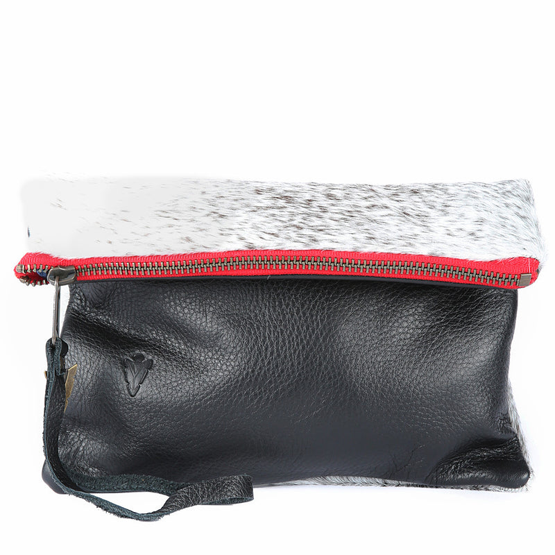 Fur Clutch Black Leather