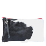 Fur Long Clutch in Black Leather