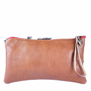 Fur Long Clutch in Brown Leather