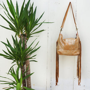 Jacinda Side Fringe Messenger in Gold Leather