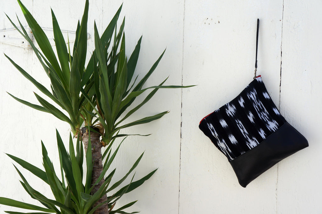 Ikat Clutch in Black Leather