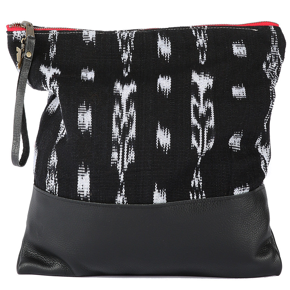 Ikat Large Clutch in Black Leather