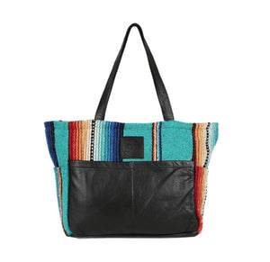 TEXAS TURQUOISE DIAPER BAG IN BLACK LEATHER