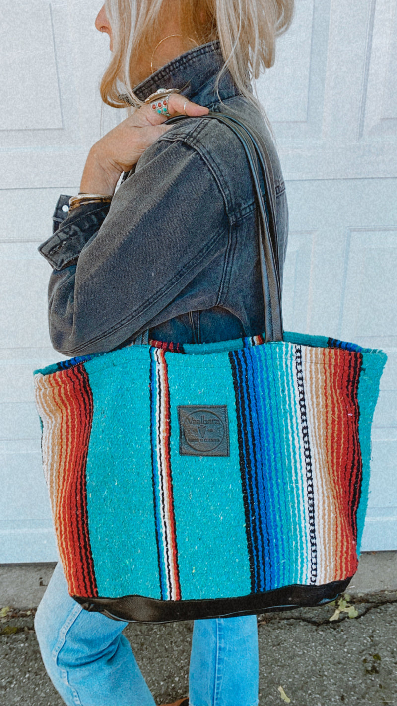 Texas Turquoise Weekender in Black Leather
