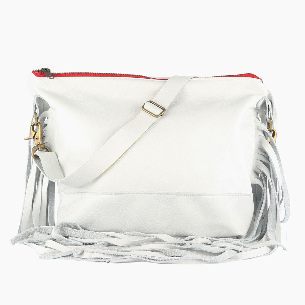 Jacinda Side Fringe Messenger in White Leather