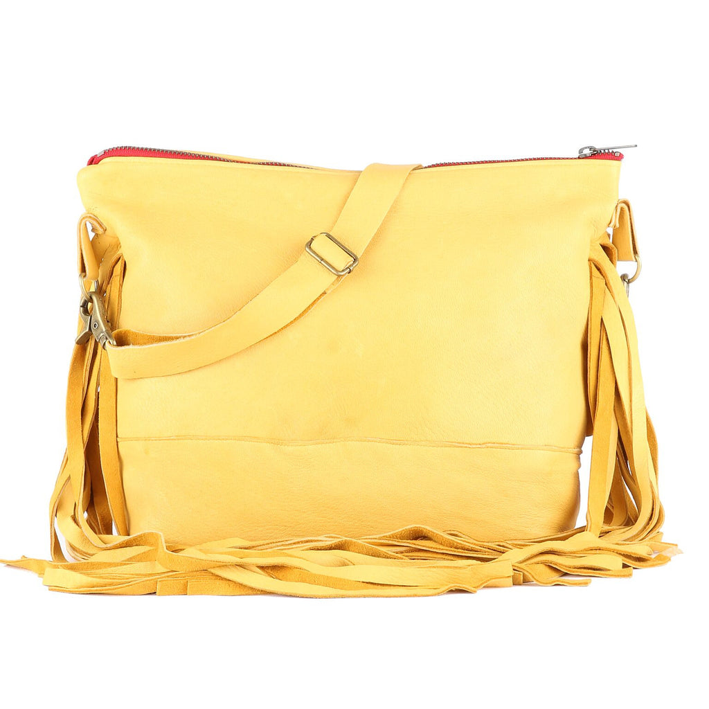 Jacinda Side Fringe Messenger in Yellow Leather