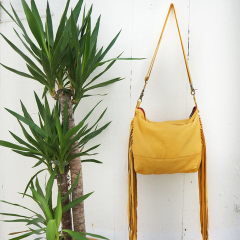 Jessa Fringe Messenger in Gold Leather