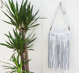 Jessa Fringe Messenger in White Leather