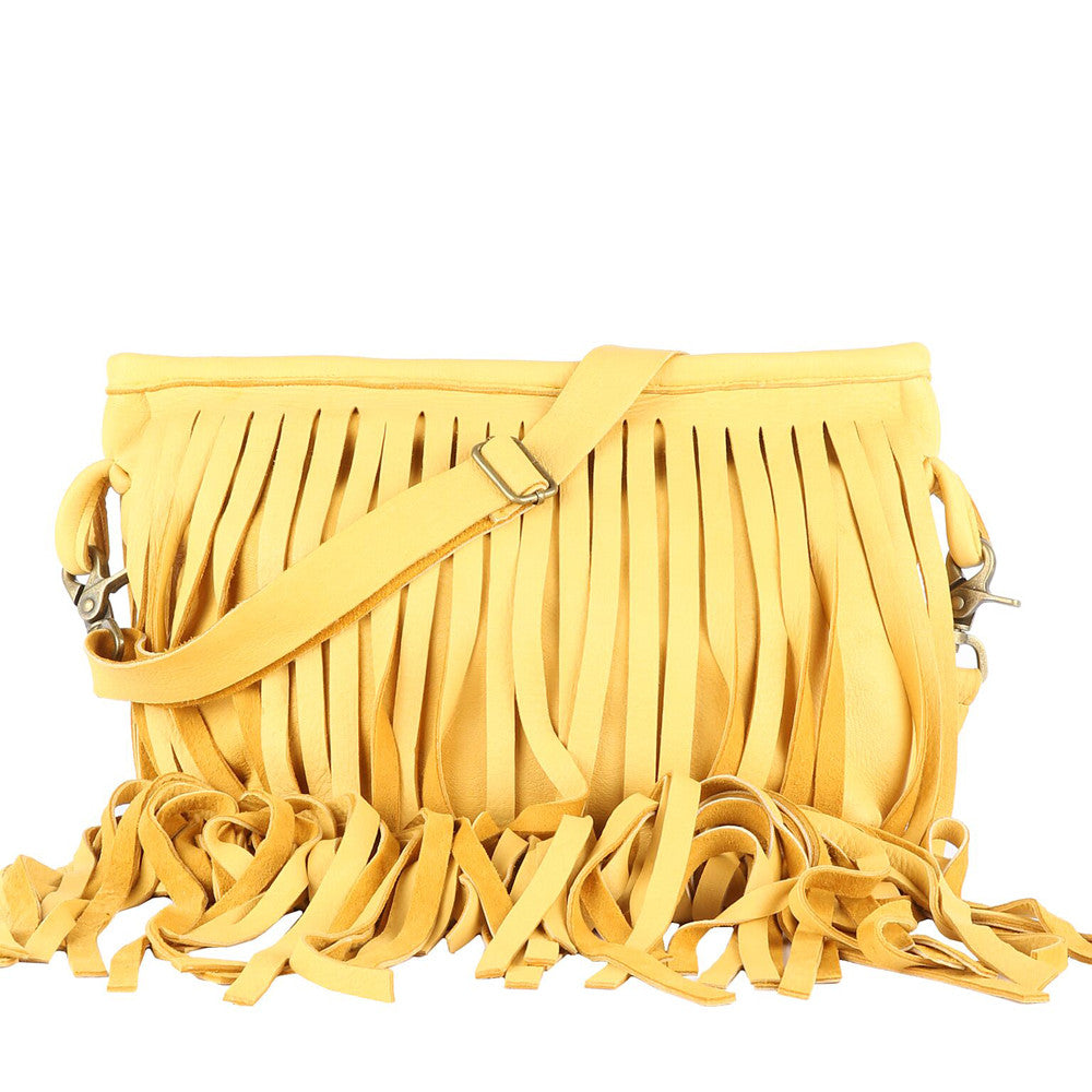 Jessa Fringe Messenger in Yellow Leather