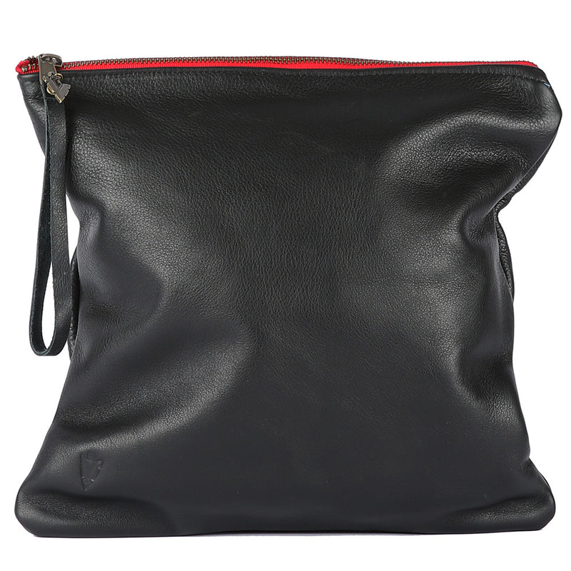 Black Leather Large Clutch