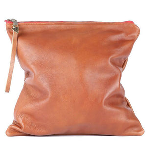 Brown Leather Large Clutch