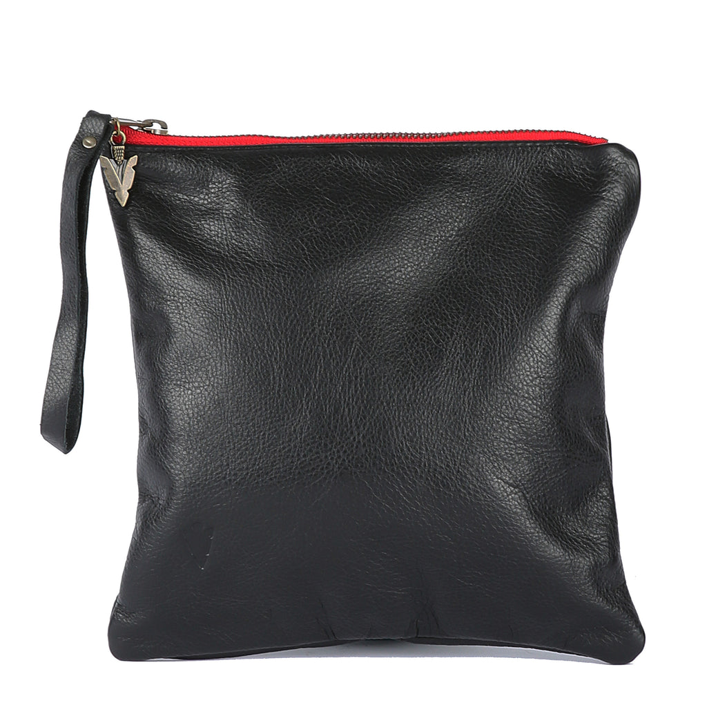 Medium Clutch in Black Leather