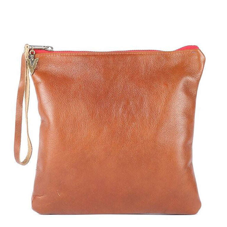 Medium Clutch in Brown Leather