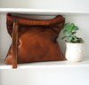 All Leather Clutch in Brown Leather