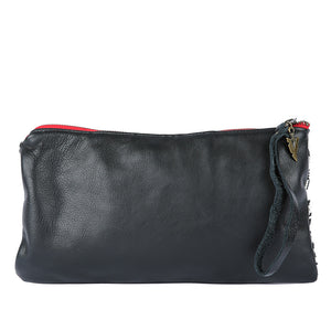 Blue Katama Nash Clutch in Black Leather