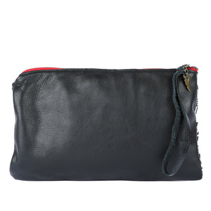 Pondarosa Nash Clutch in Black Leather