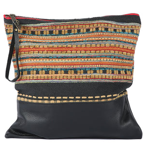Ponderosa Large Clutch in Black Leather