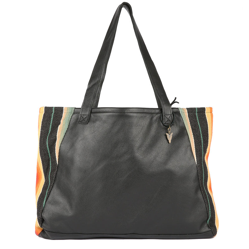 Santa Fe Tosh Tote in Black Leather