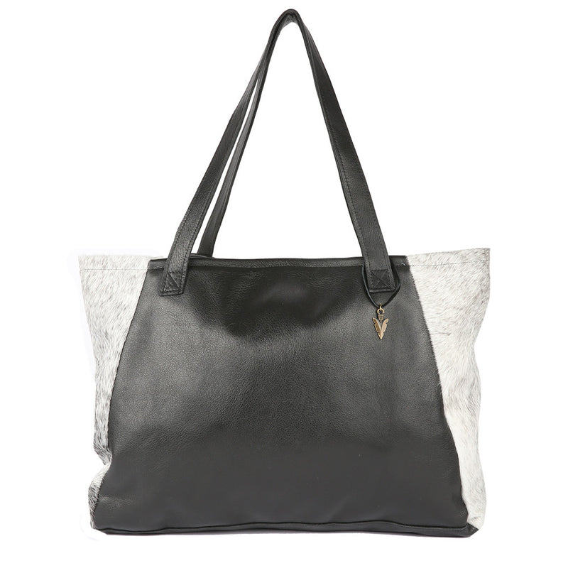 Fur Tosh Tote in Black Leather