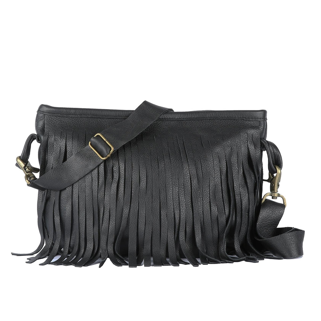 Fringe Clutch Messenger in Black Leather