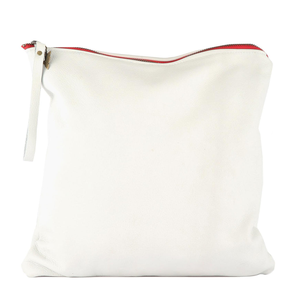 Large Clutch in White Leather
