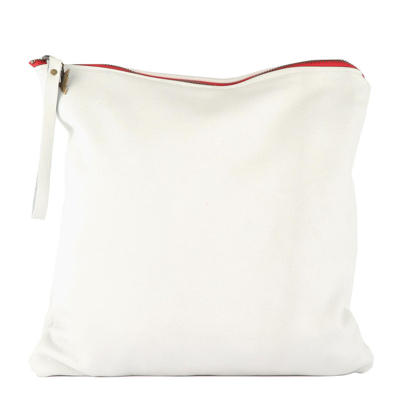 White Leather Large Clutch