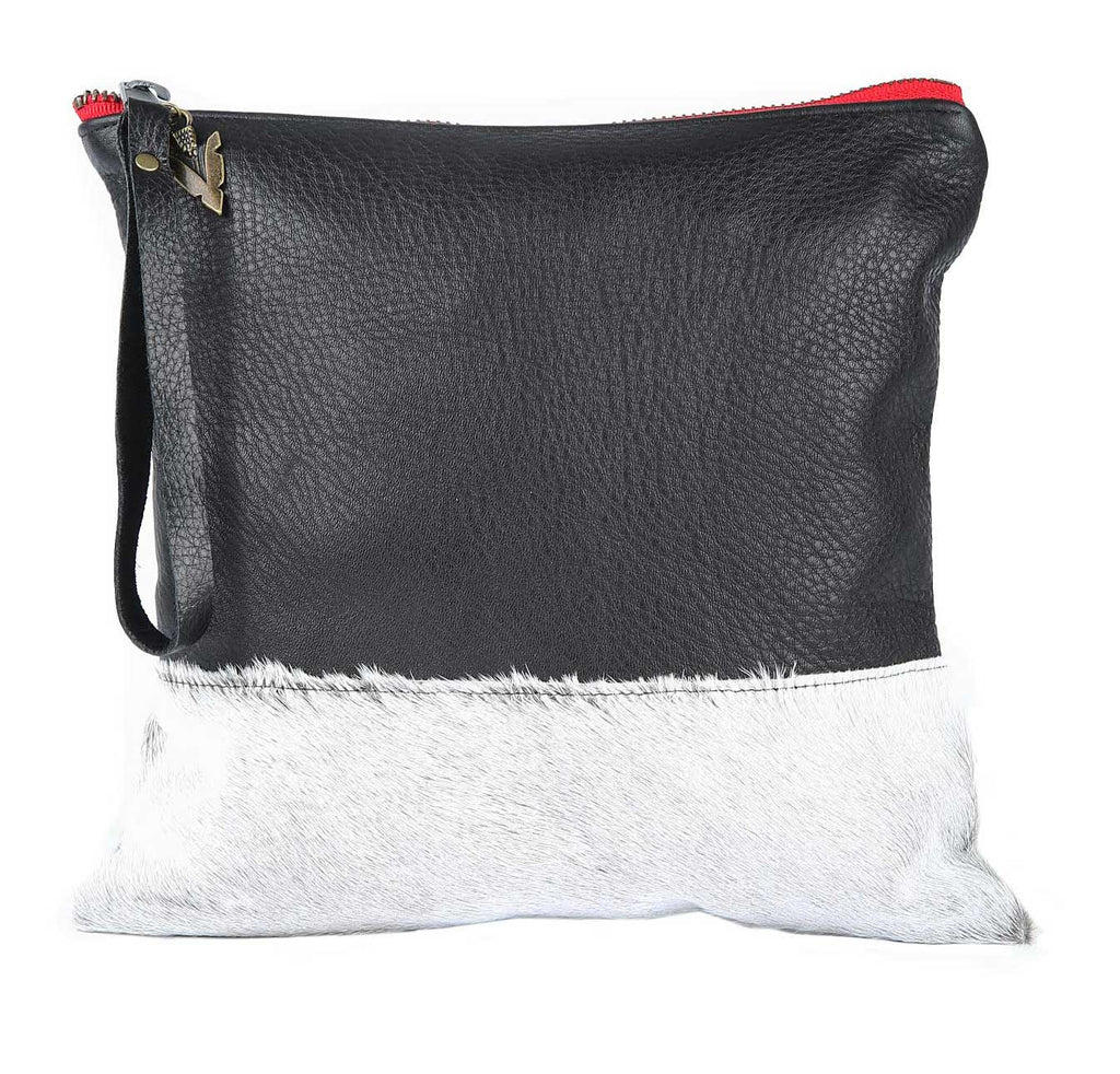 Belle Fur Clutch in Black Leather