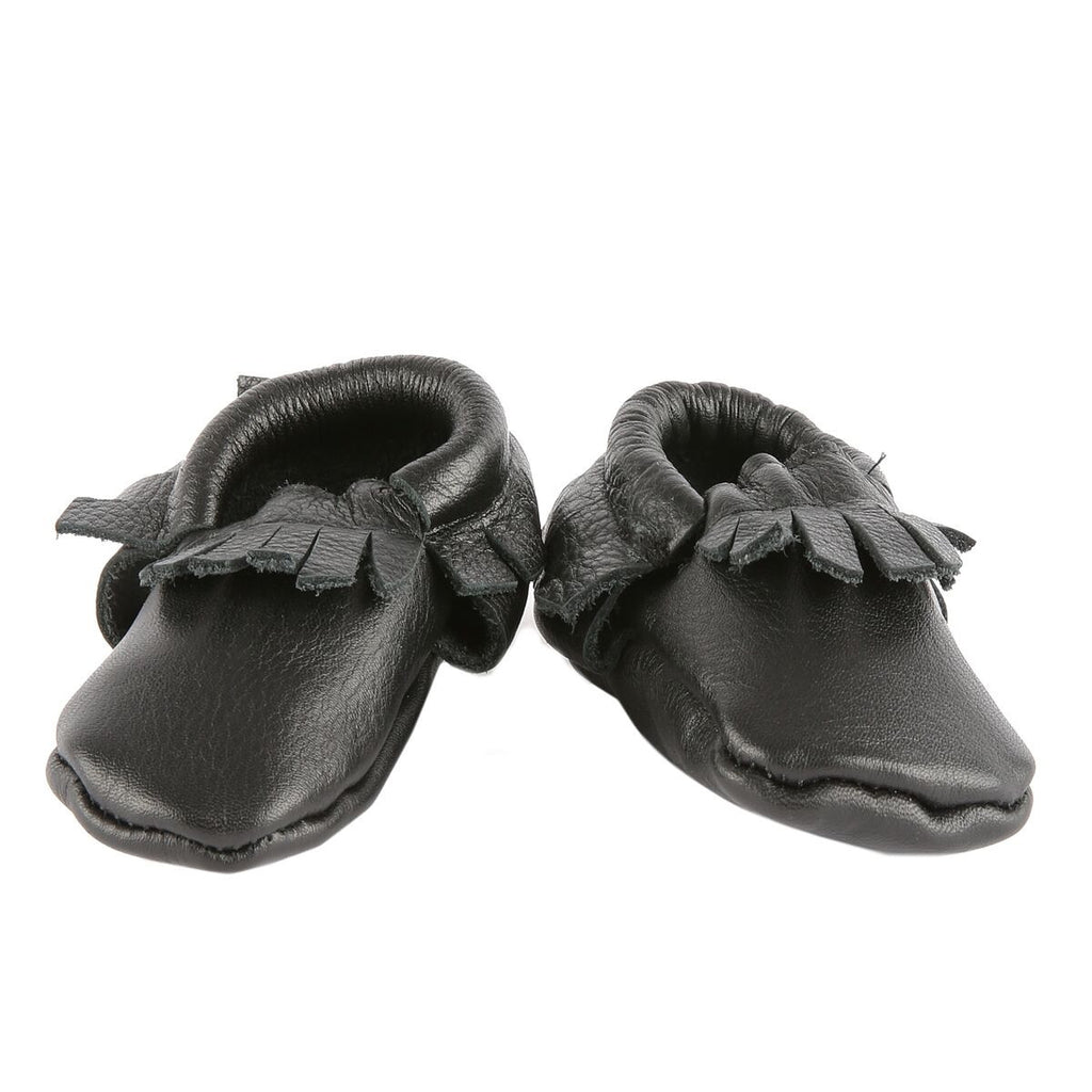 Baby Moccasins Black Leather